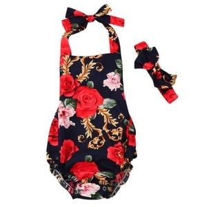 Other - Red Floral Romper